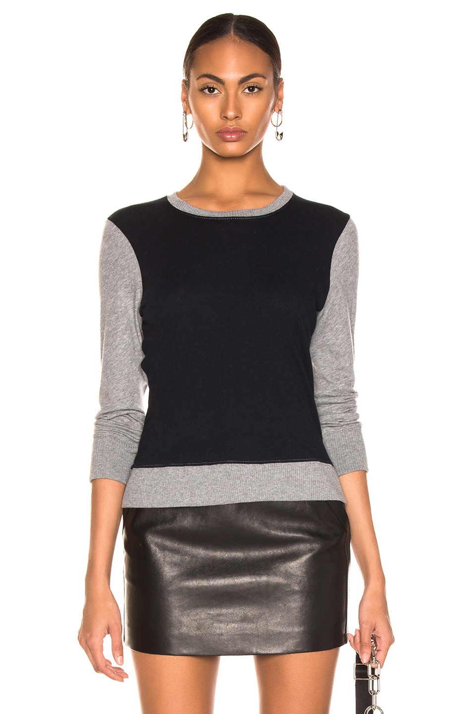 Image 1 of Enza Costa Cashmere Color Block Sweatshirt in Smoke & Cadet