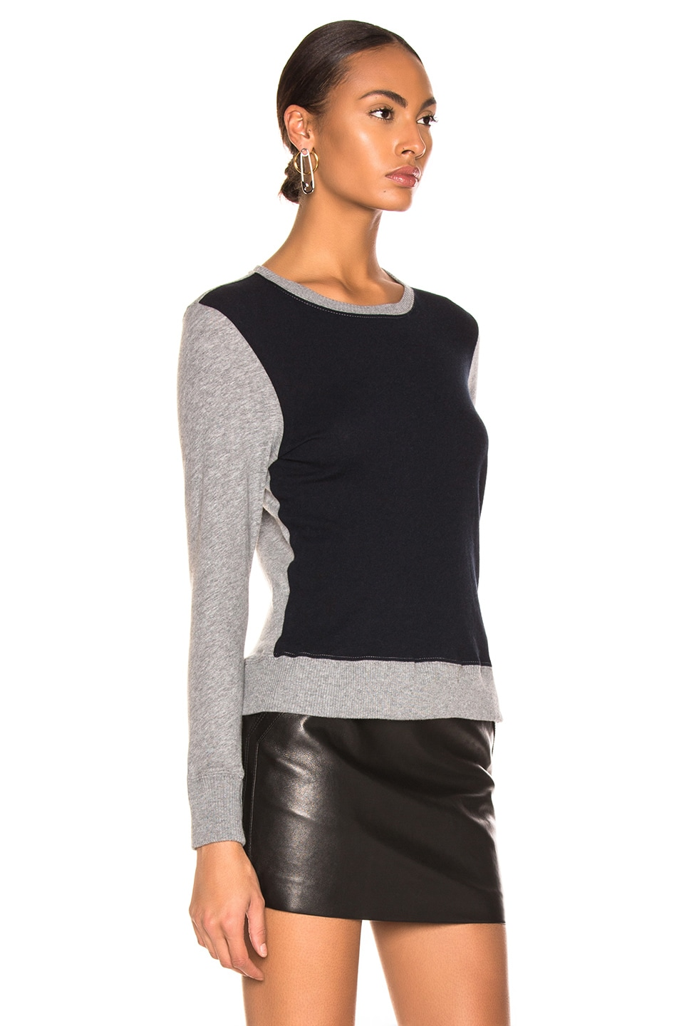 Image 2 of Enza Costa Cashmere Color Block Sweatshirt in Smoke & Cadet