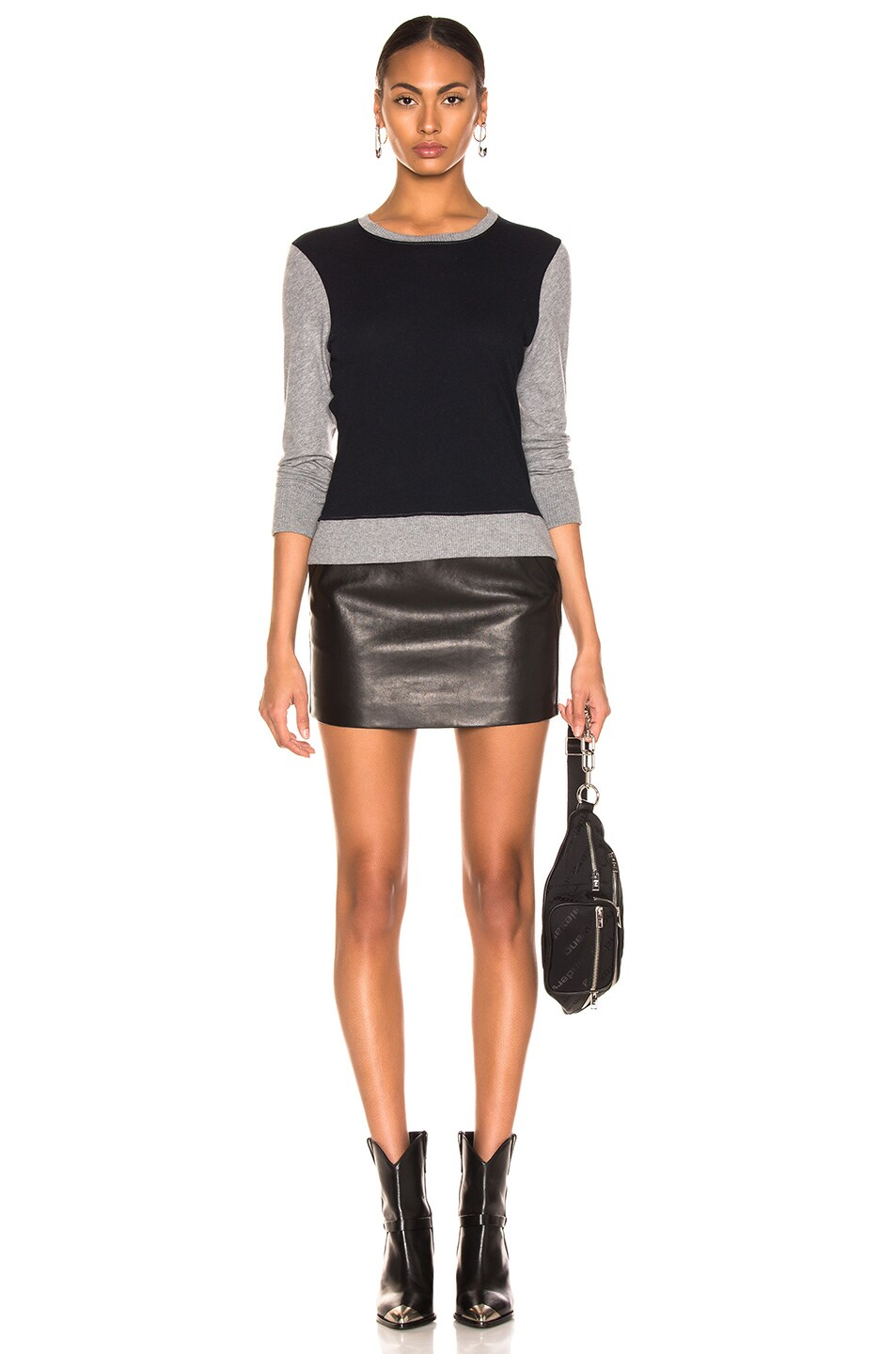 Image 4 of Enza Costa Cashmere Color Block Sweatshirt in Smoke & Cadet