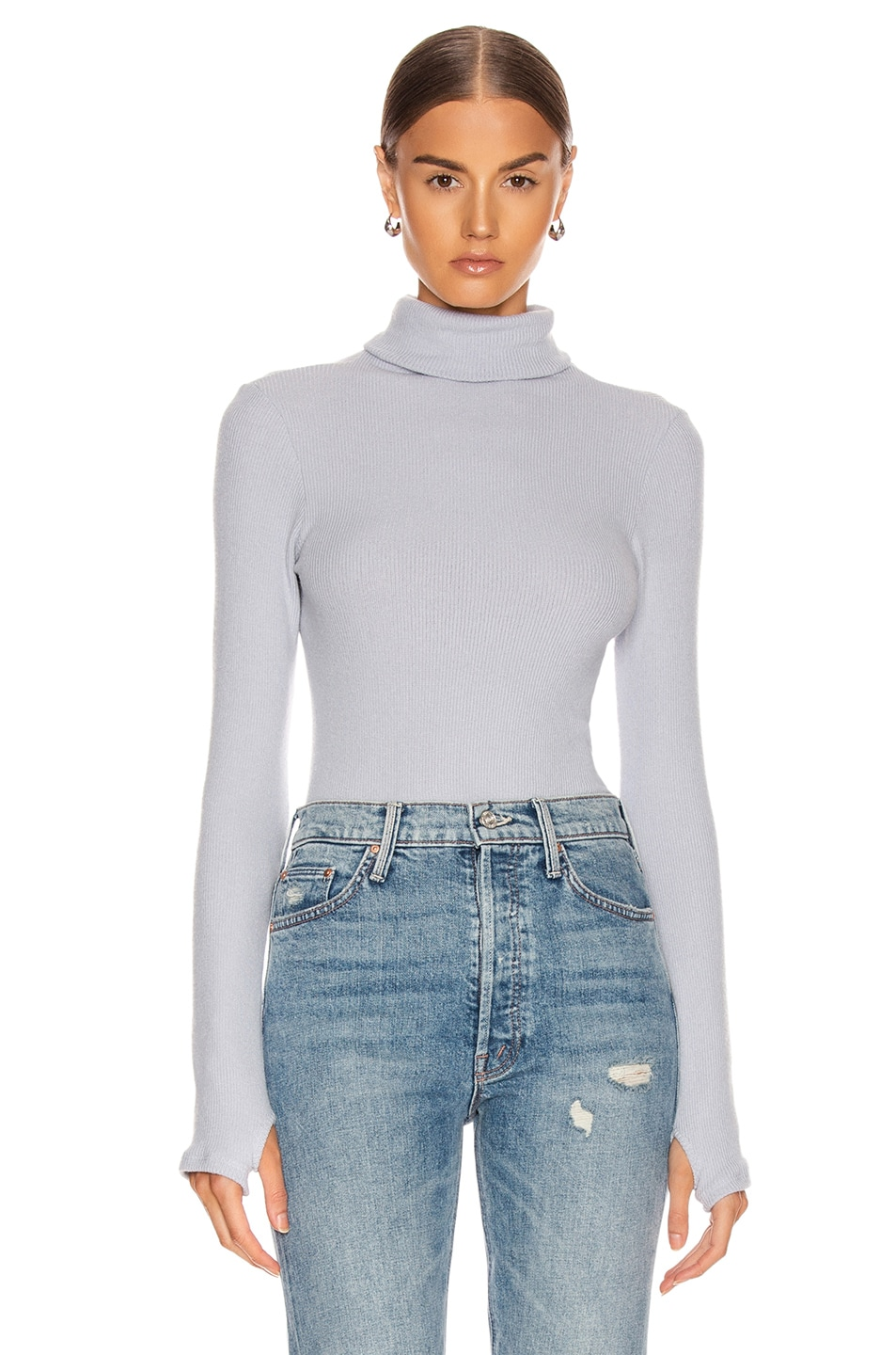 Image 1 of Enza Costa Sweater Knit Long Sleeve Turtleneck Sweater in Ice Blue