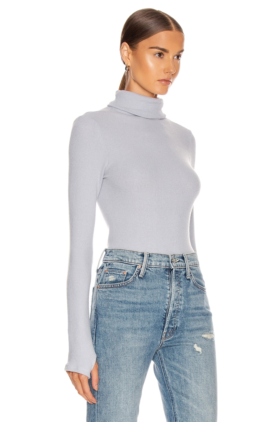 Image 2 of Enza Costa Sweater Knit Long Sleeve Turtleneck Sweater in Ice Blue