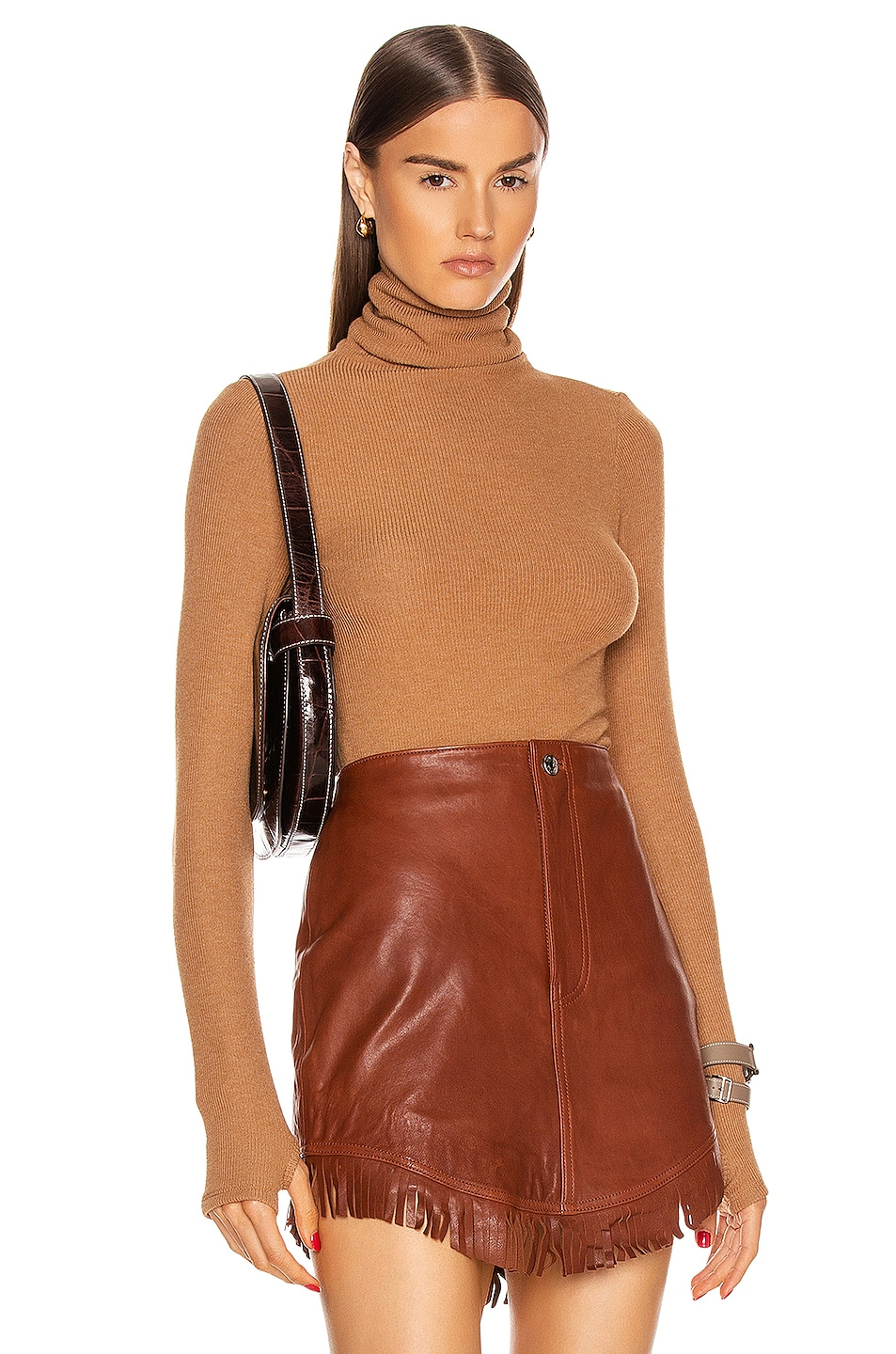 Image 1 of Enza Costa Sweater Knit Long Sleeve Turtleneck Top in Amber