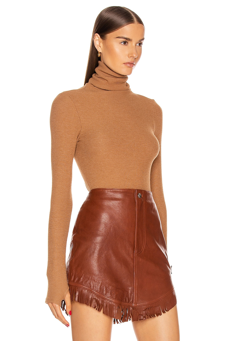 Image 2 of Enza Costa Sweater Knit Long Sleeve Turtleneck Top in Amber