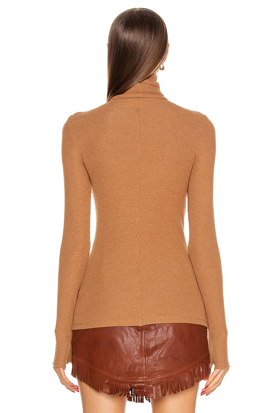 Image 3 of Enza Costa Sweater Knit Long Sleeve Turtleneck Top in Amber