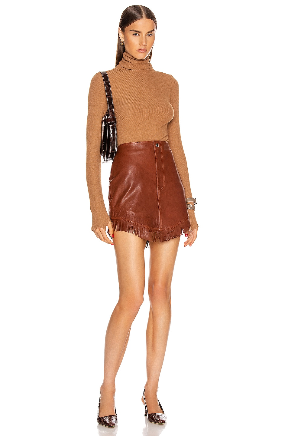 Image 4 of Enza Costa Sweater Knit Long Sleeve Turtleneck Top in Amber