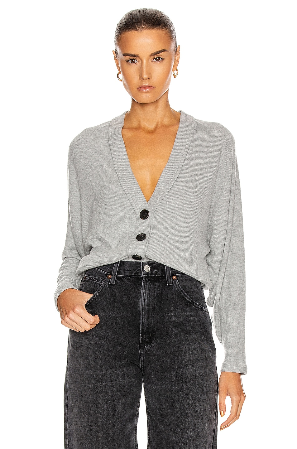 Image 1 of Enza Costa for FWRD Sweater Knit Dropped Cardigan in Heather Grey