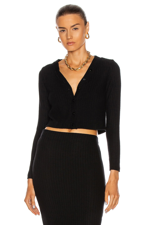 Image 1 of Enza Costa Sweater Rib Cropped Cardigan in Black