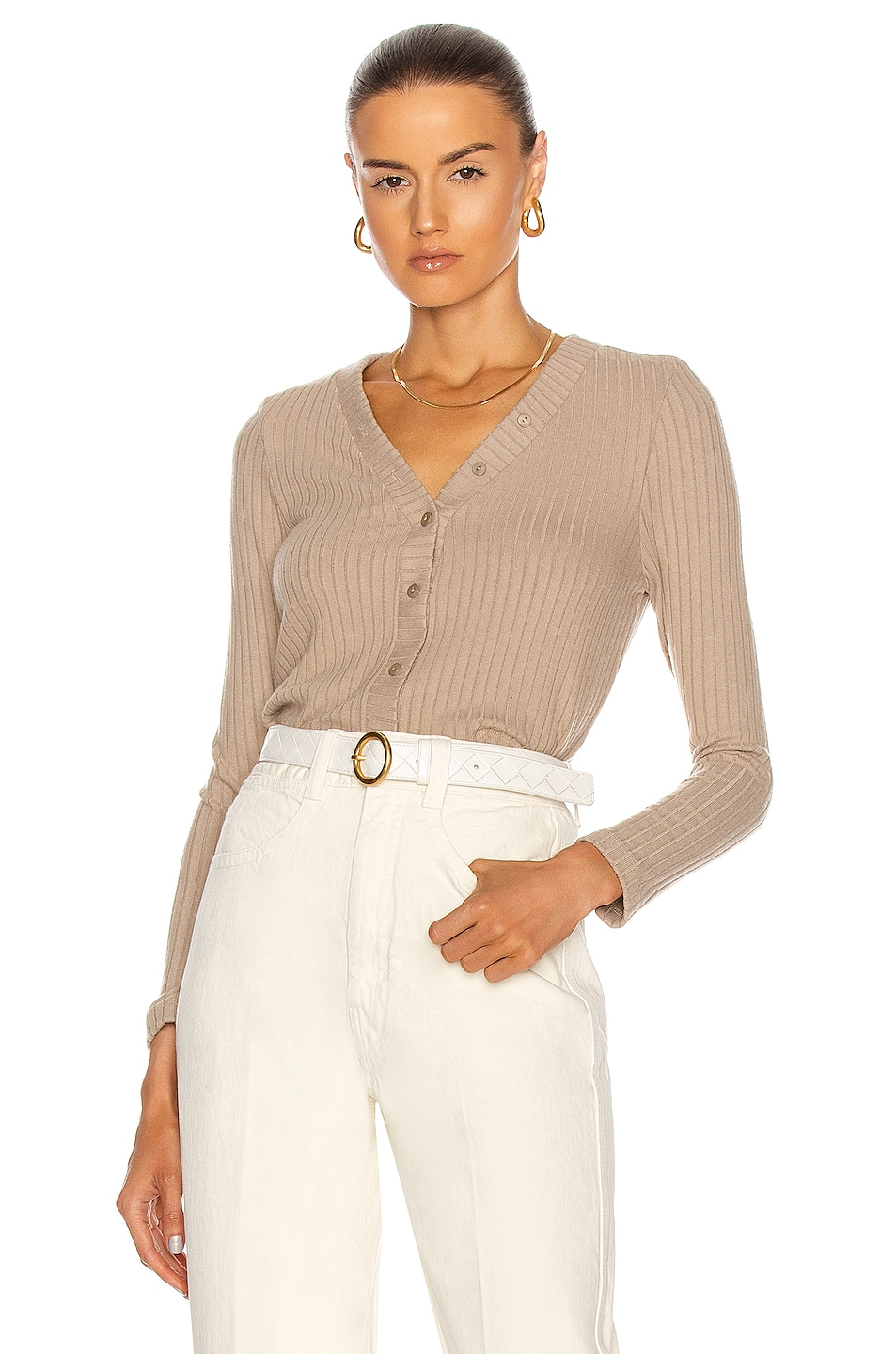 Image 1 of Enza Costa Sweater Rib Cropped Cardigan in Taupe