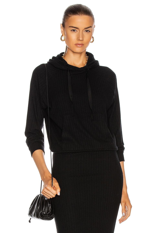 Image 1 of Enza Costa Sweater Rib Easy Hoodie in Black