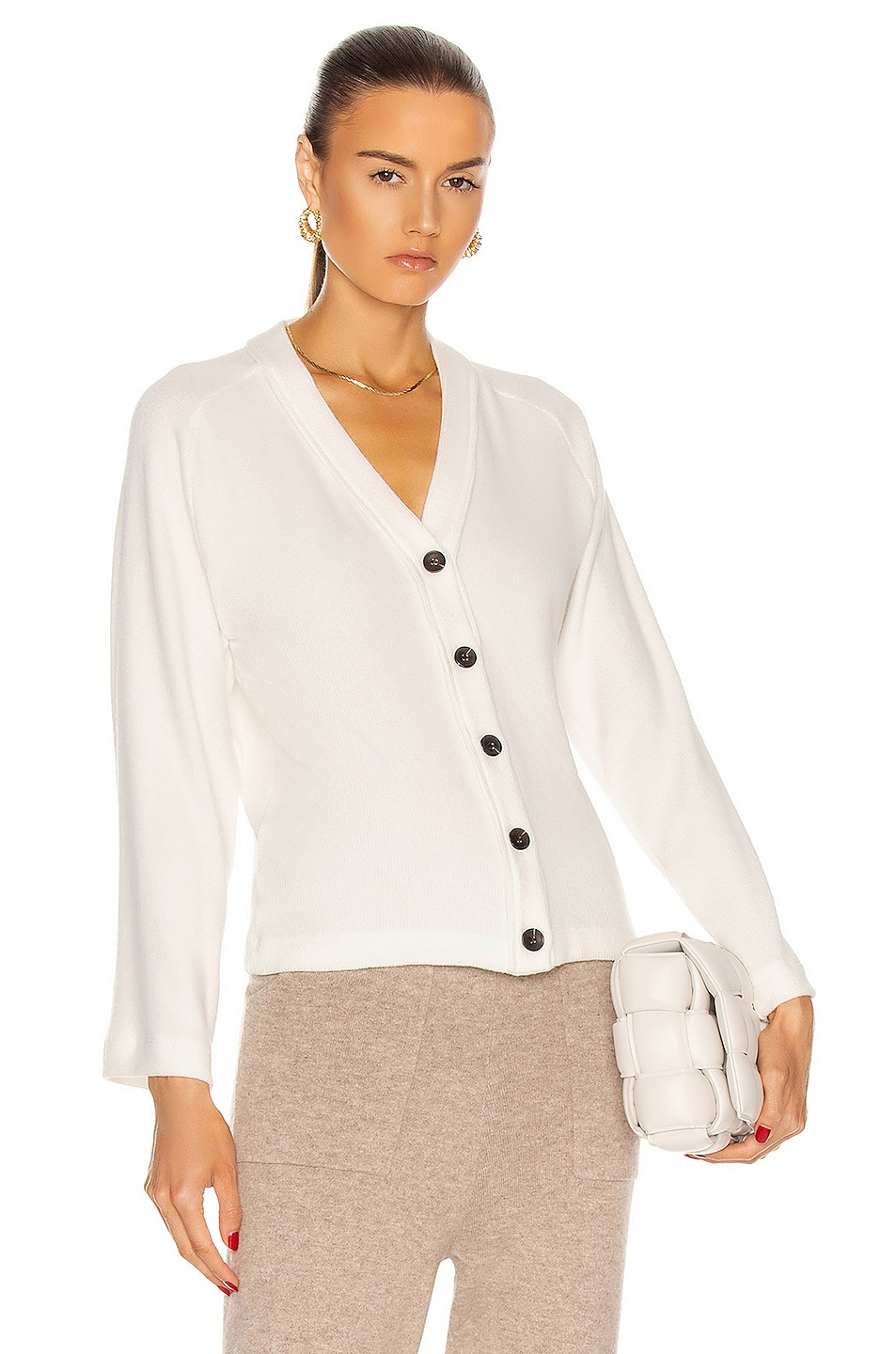 Image 1 of Enza Costa Sweater Knit Cardigan in Winter White