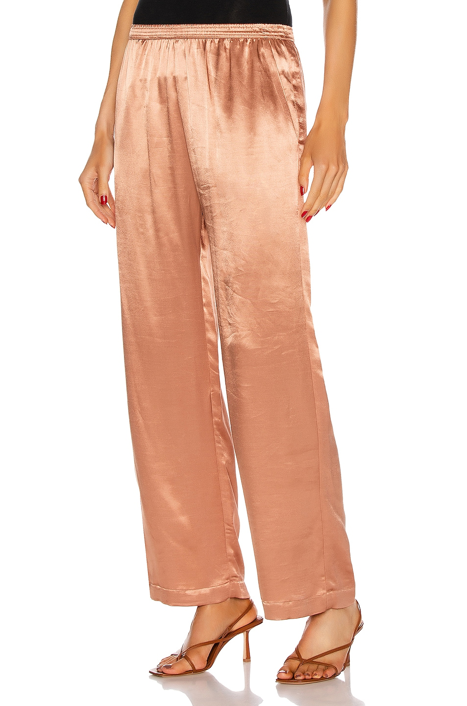 Image 1 of Enza Costa Satin Lounge Pant in Bronze