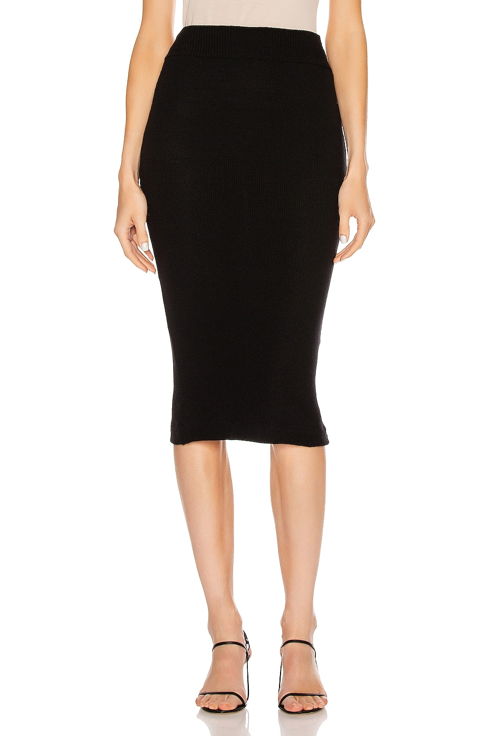 Image 1 of Enza Costa Sweater Knit Midi Skirt in Black