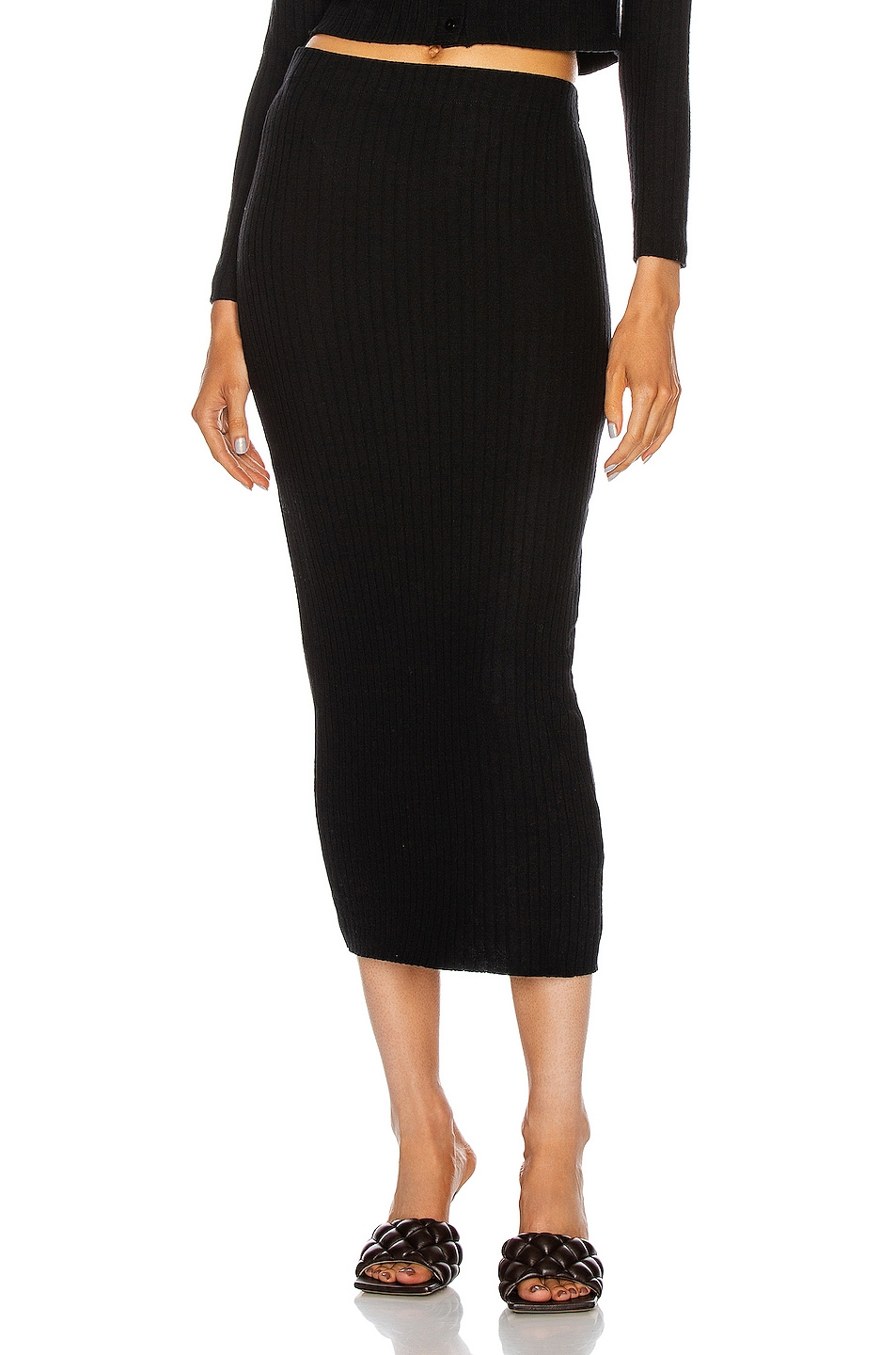 Image 1 of Enza Costa Sweater Rib Pencil Skirt in Black