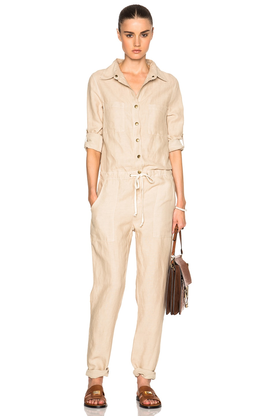Image 1 of Enza Costa Long Sleeve Jumpsuit in Feather Grey