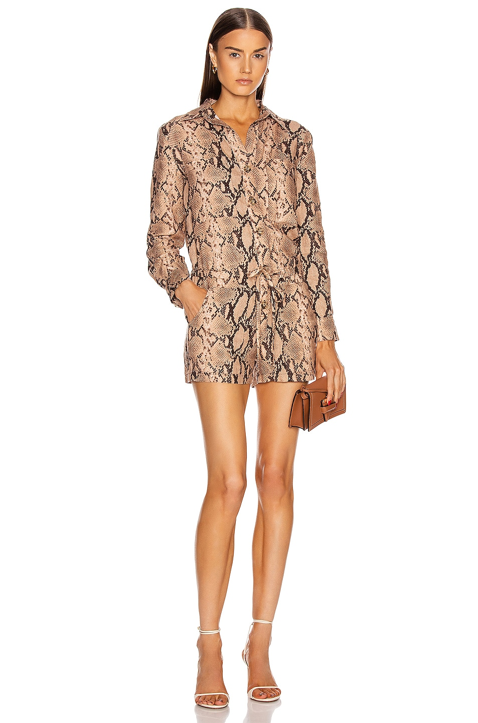 Image 1 of Enza Costa Long Sleeve Romper in Sand Python