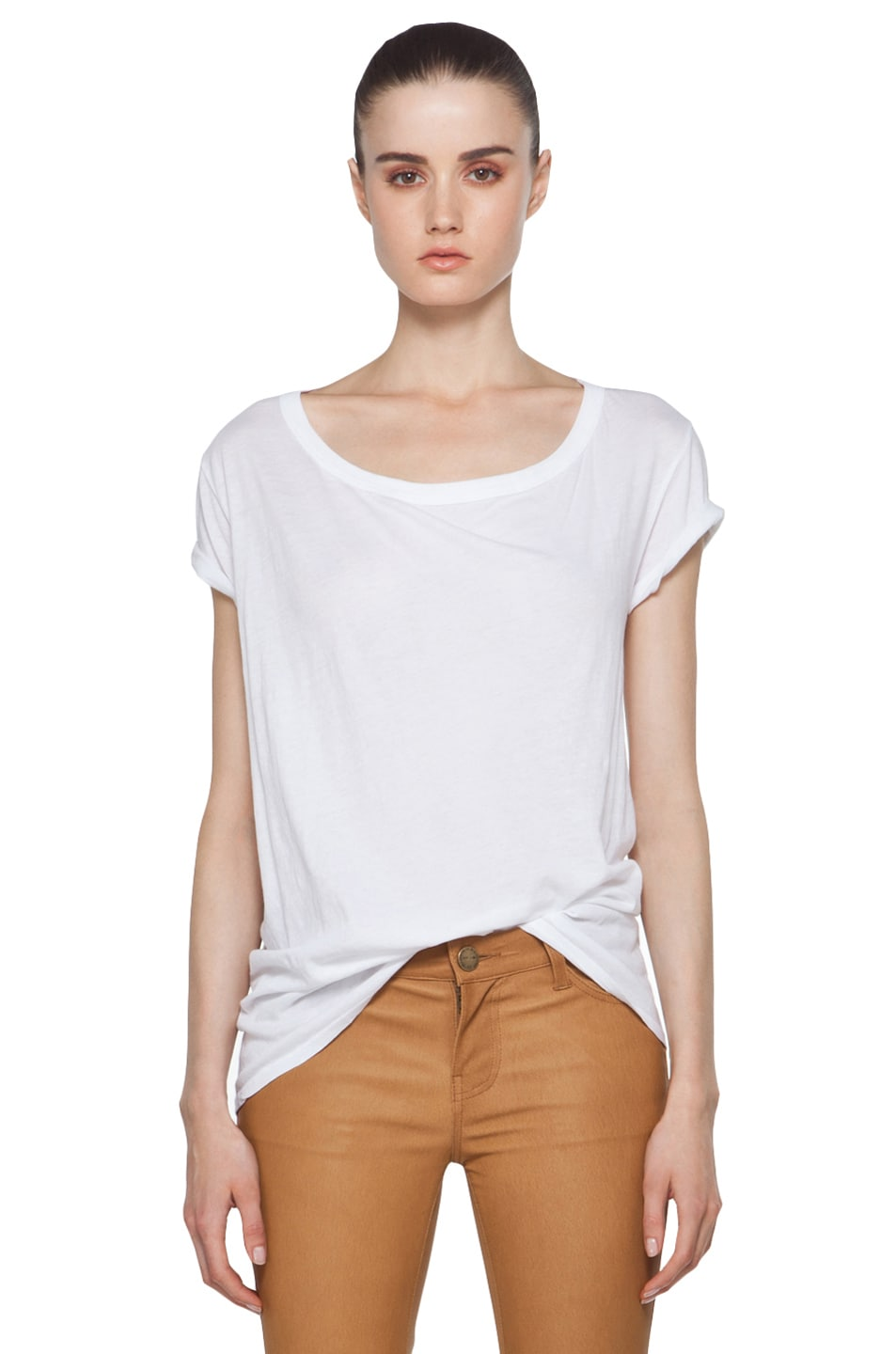 Image 1 of Enza Costa Off The Shoulder Tee in White