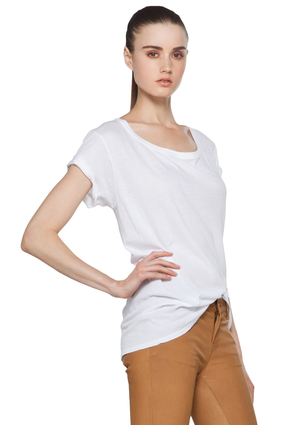 Image 4 of Enza Costa Off The Shoulder Tee in White