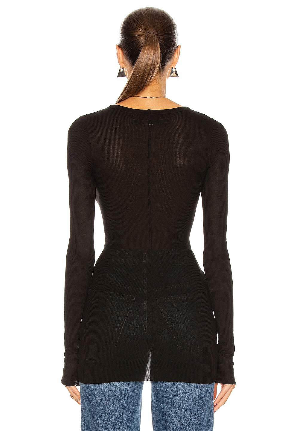 Image 3 of Enza Costa Rib Viscose-Blend Tee in Black