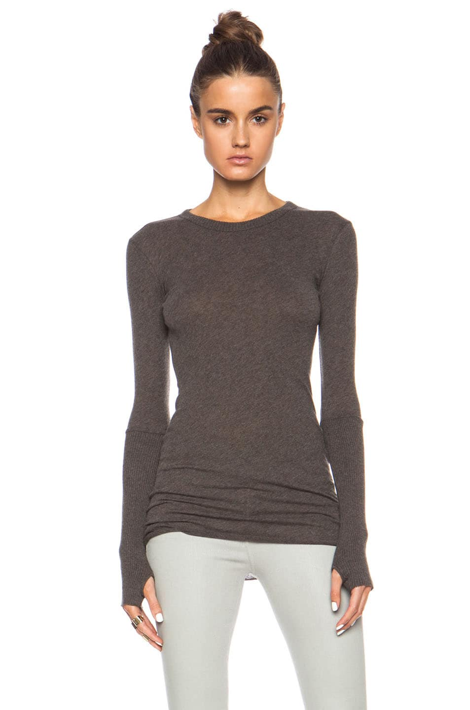 Image 1 of Enza Costa Cashmere Cuffed Crew Cotton-Blend Sweater in Major Brown