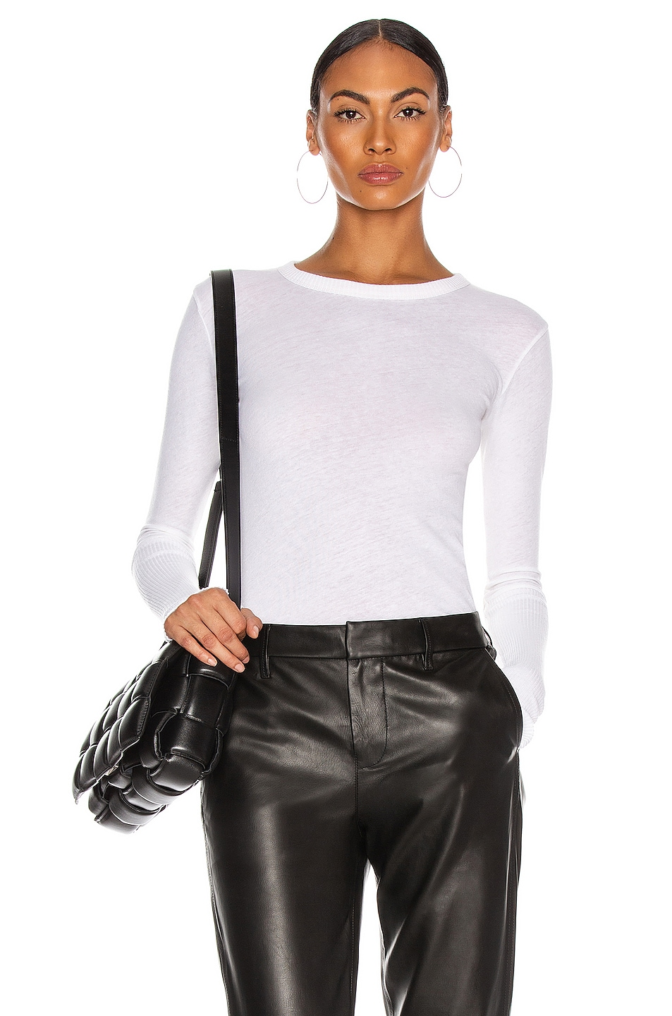 Image 1 of Enza Costa Cashmere Cuffed Crew Tee in White
