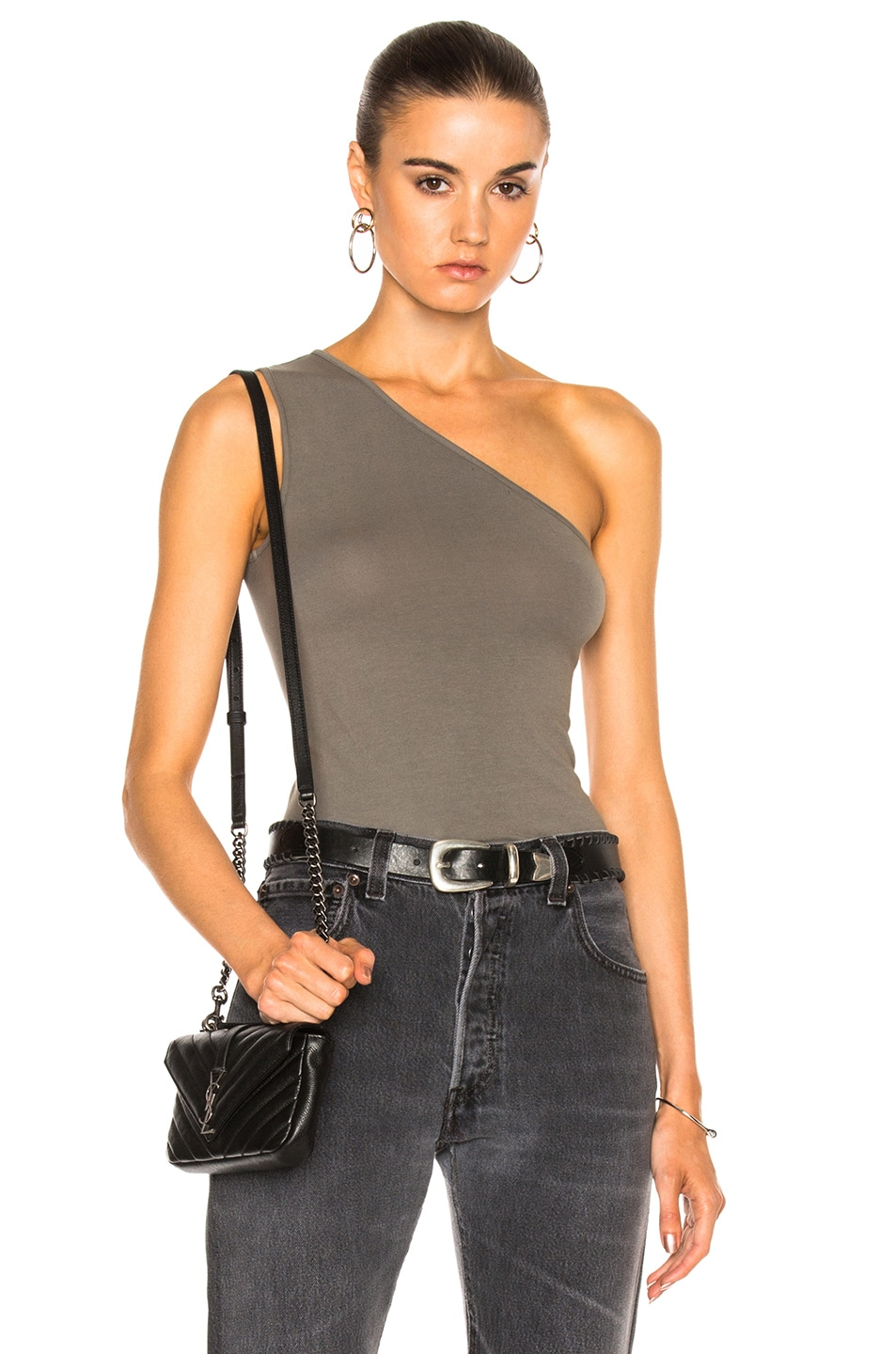 8bcd3016ab498 Image 1 of Enza Costa One Shoulder Tank Top in Sage