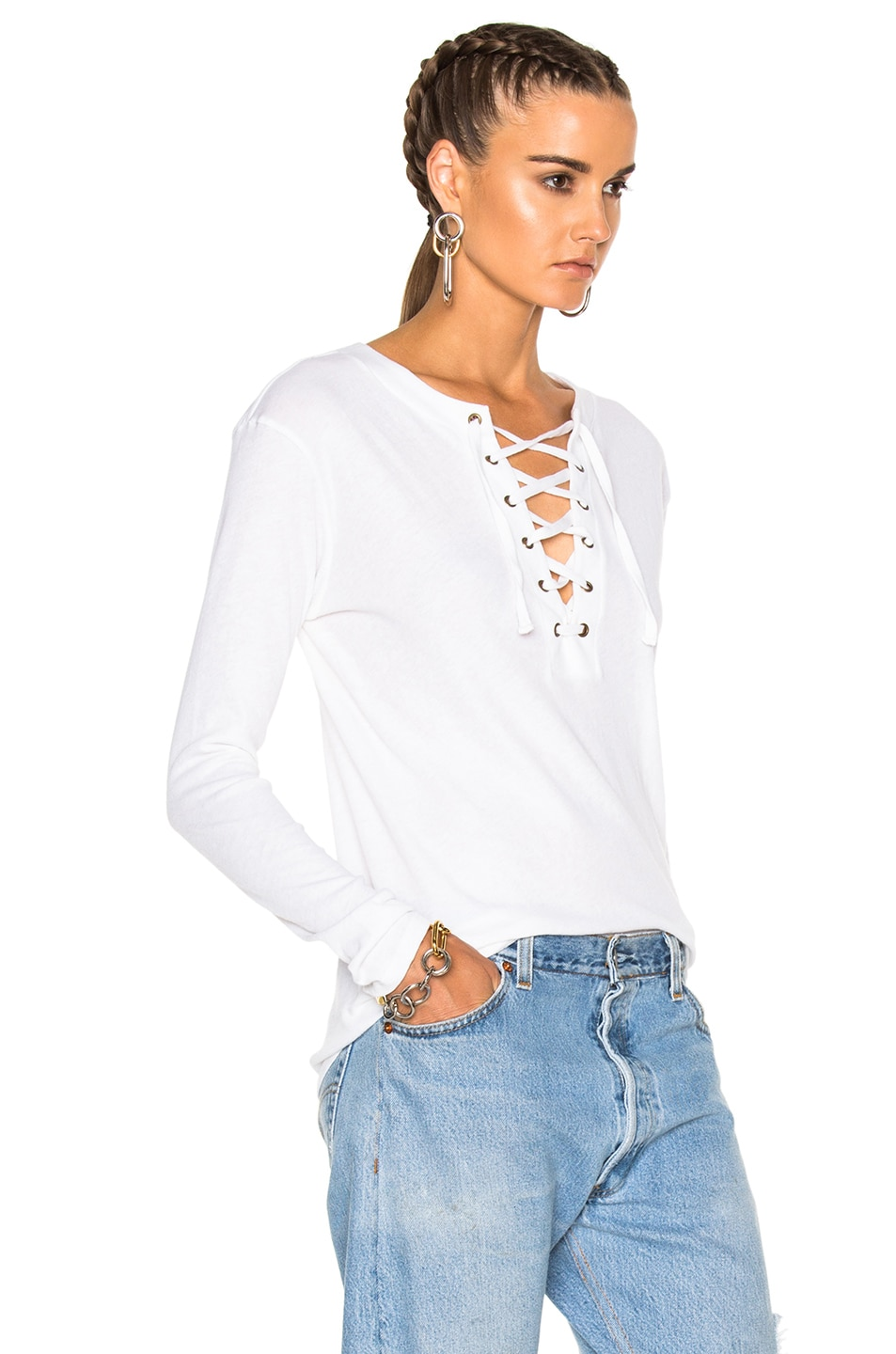 Image 3 of Enza Costa Lace Up Top in Black in White 64048a796
