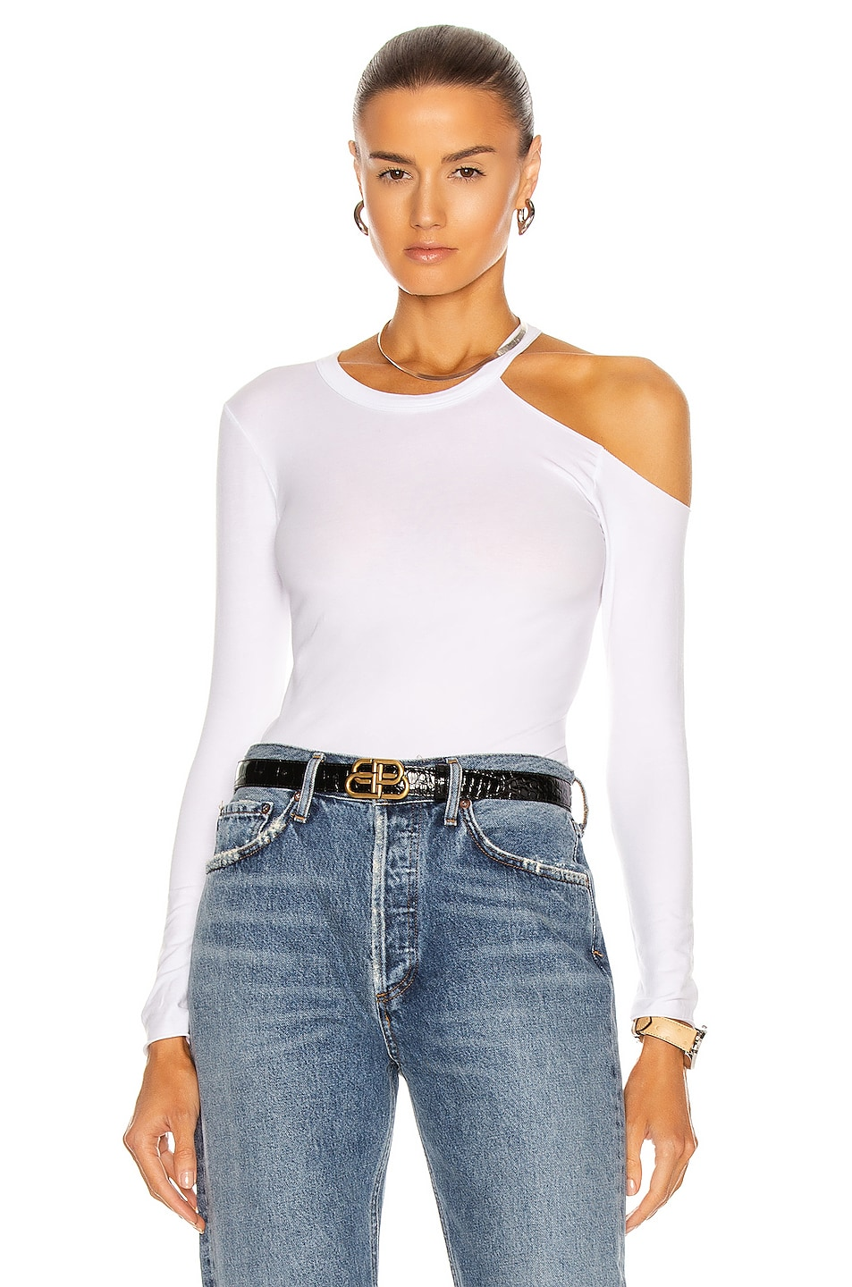 Image 1 of Enza Costa Exposed Shoulder Top in White