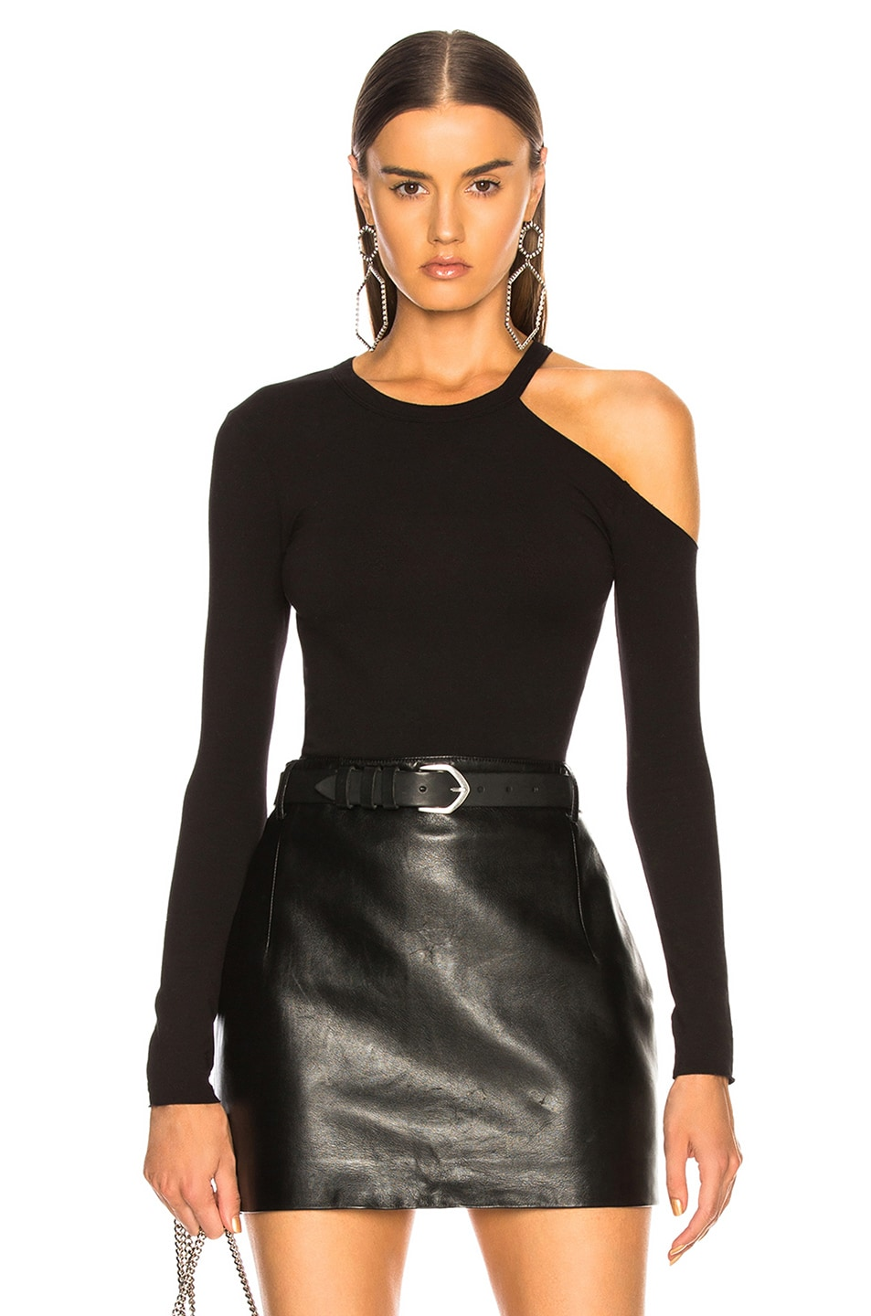 Image 1 of Enza Costa for FWRD Exposed Shoulder Top in Black