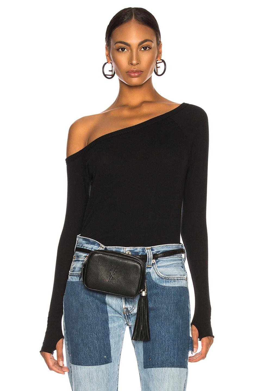 Image 1 of Enza Costa Cashmere Off Shoulder Long Sleeve in Black