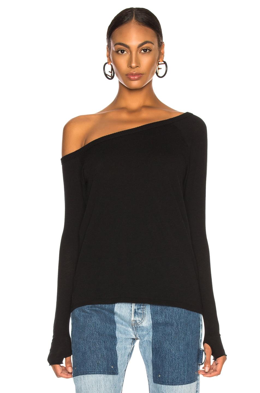 Image 2 of Enza Costa Cashmere Off Shoulder Long Sleeve in Black