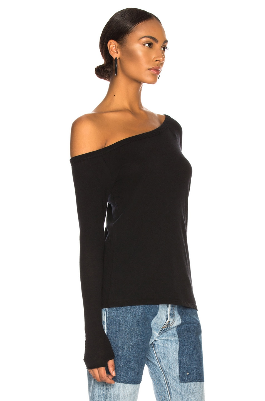 Image 3 of Enza Costa Cashmere Off Shoulder Long Sleeve in Black