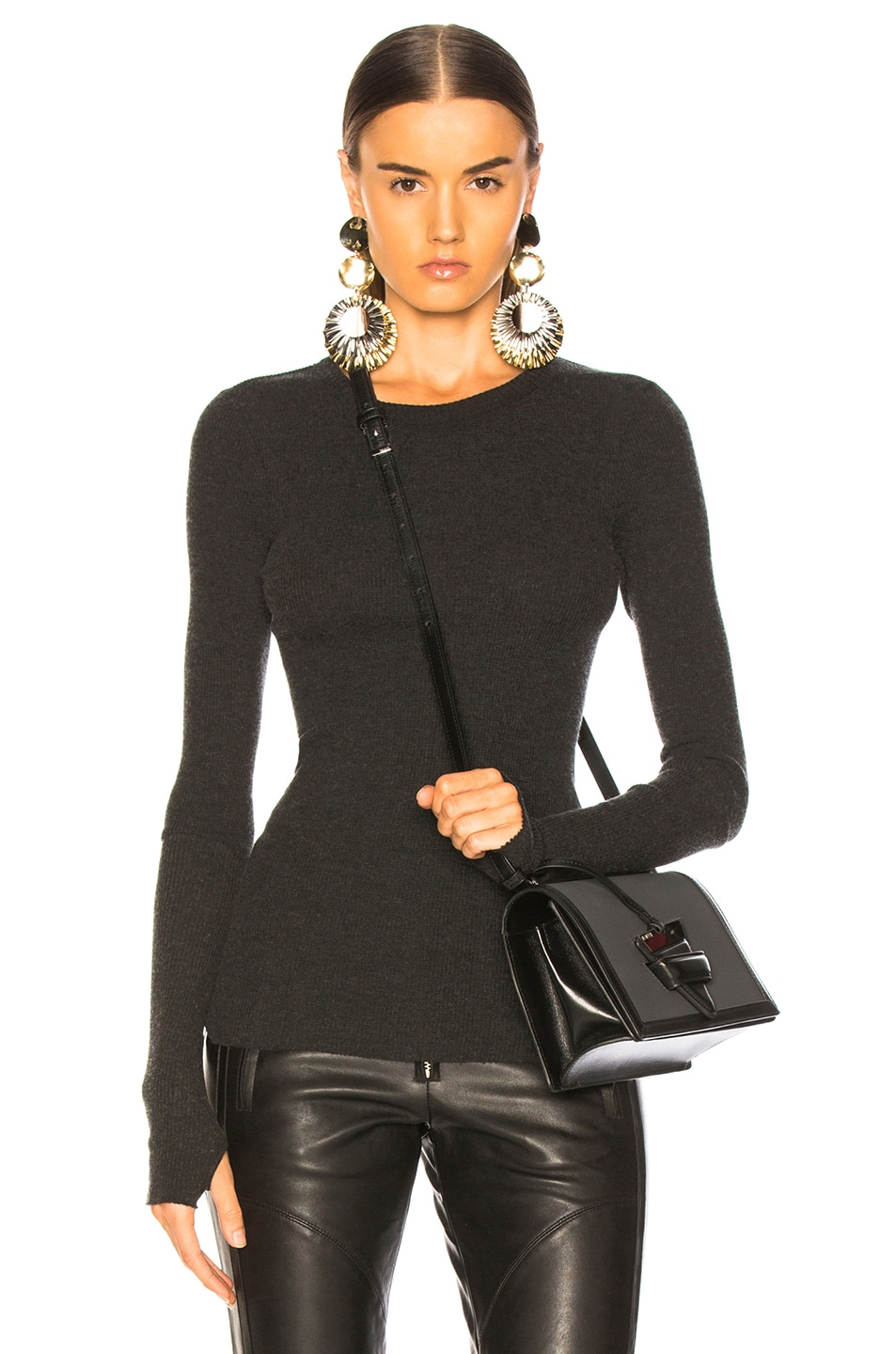 Image 1 of Enza Costa Cashmere Thermal Cuffed Long Sleeve Crew in Charcoal