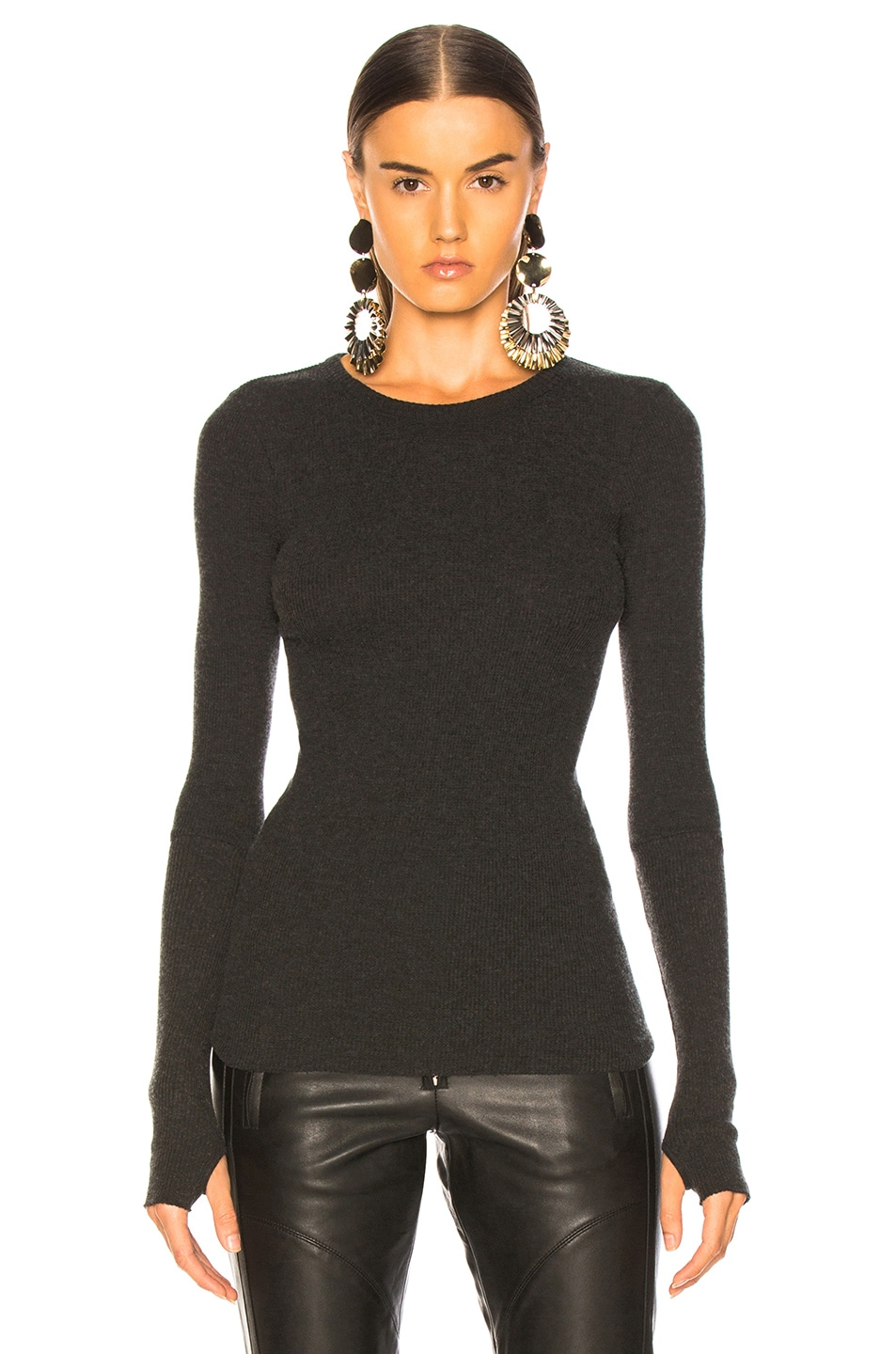 Image 2 of Enza Costa Cashmere Thermal Cuffed Long Sleeve Crew in Charcoal