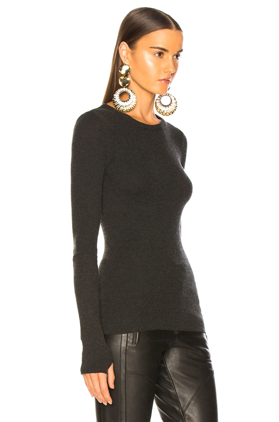 Image 3 of Enza Costa Cashmere Thermal Cuffed Long Sleeve Crew in Charcoal