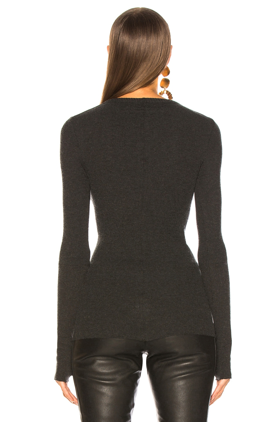 Image 4 of Enza Costa Cashmere Thermal Cuffed Long Sleeve Crew in Charcoal