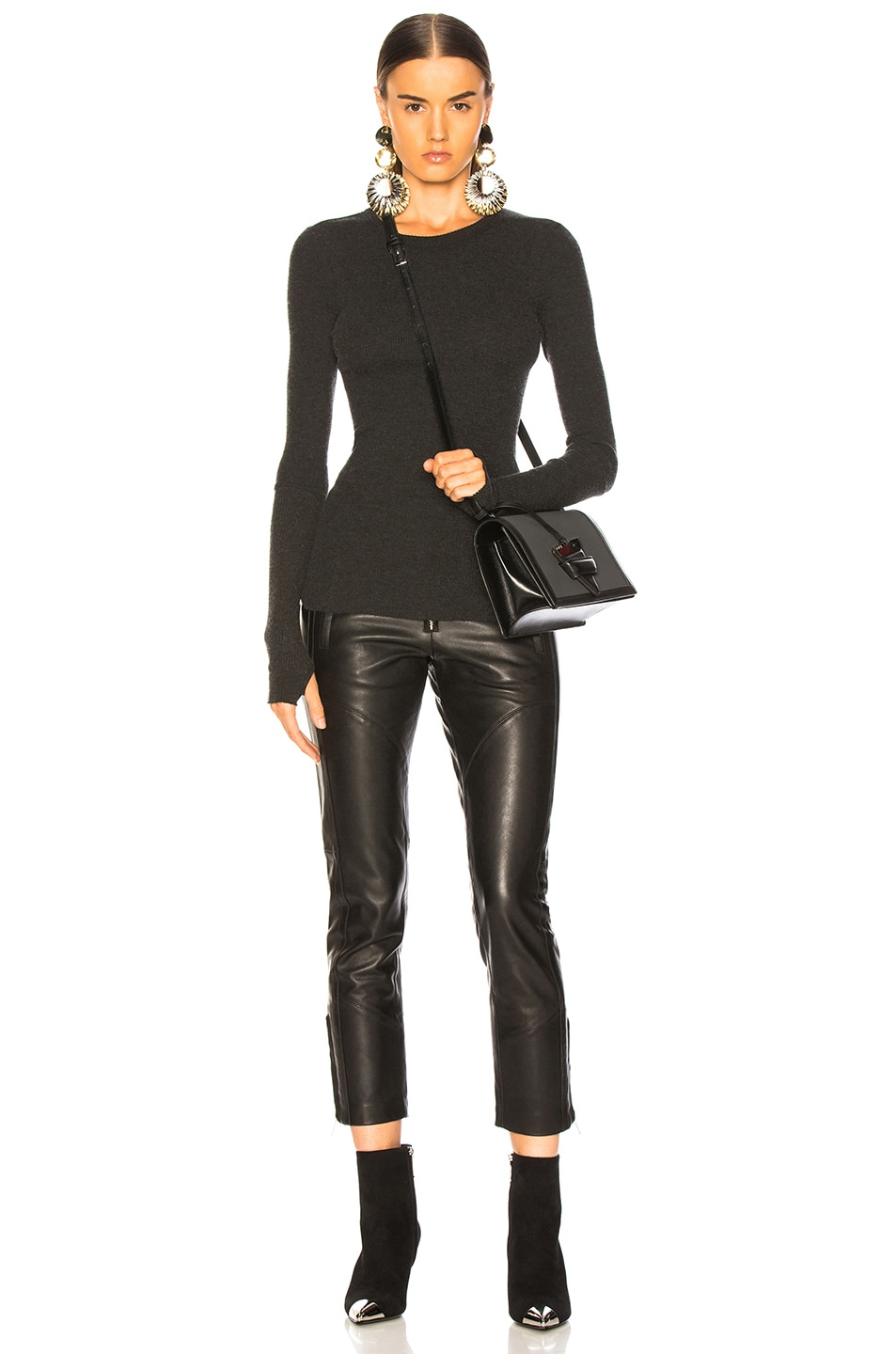 Image 5 of Enza Costa Cashmere Thermal Cuffed Long Sleeve Crew in Charcoal
