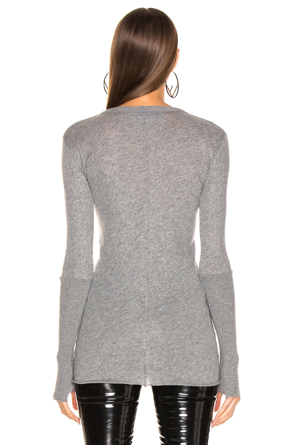 Image 3 of Enza Costa Cashmere Cuffed Crew in Smoke