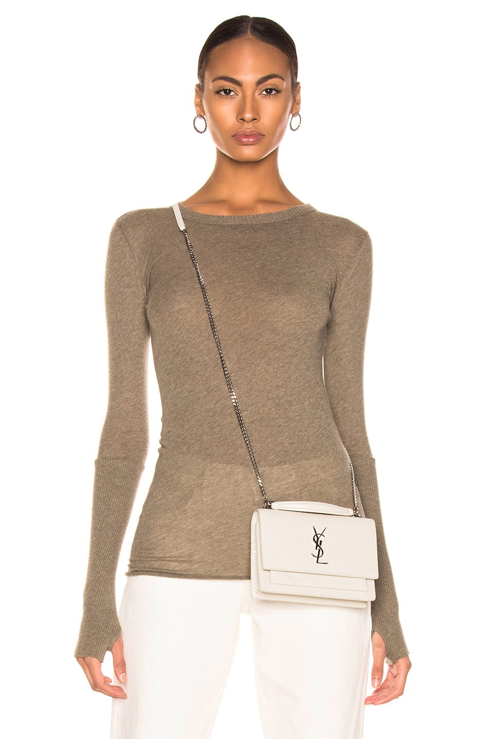 Image 1 of Enza Costa Cashmere Cuffed Crew in Pebble