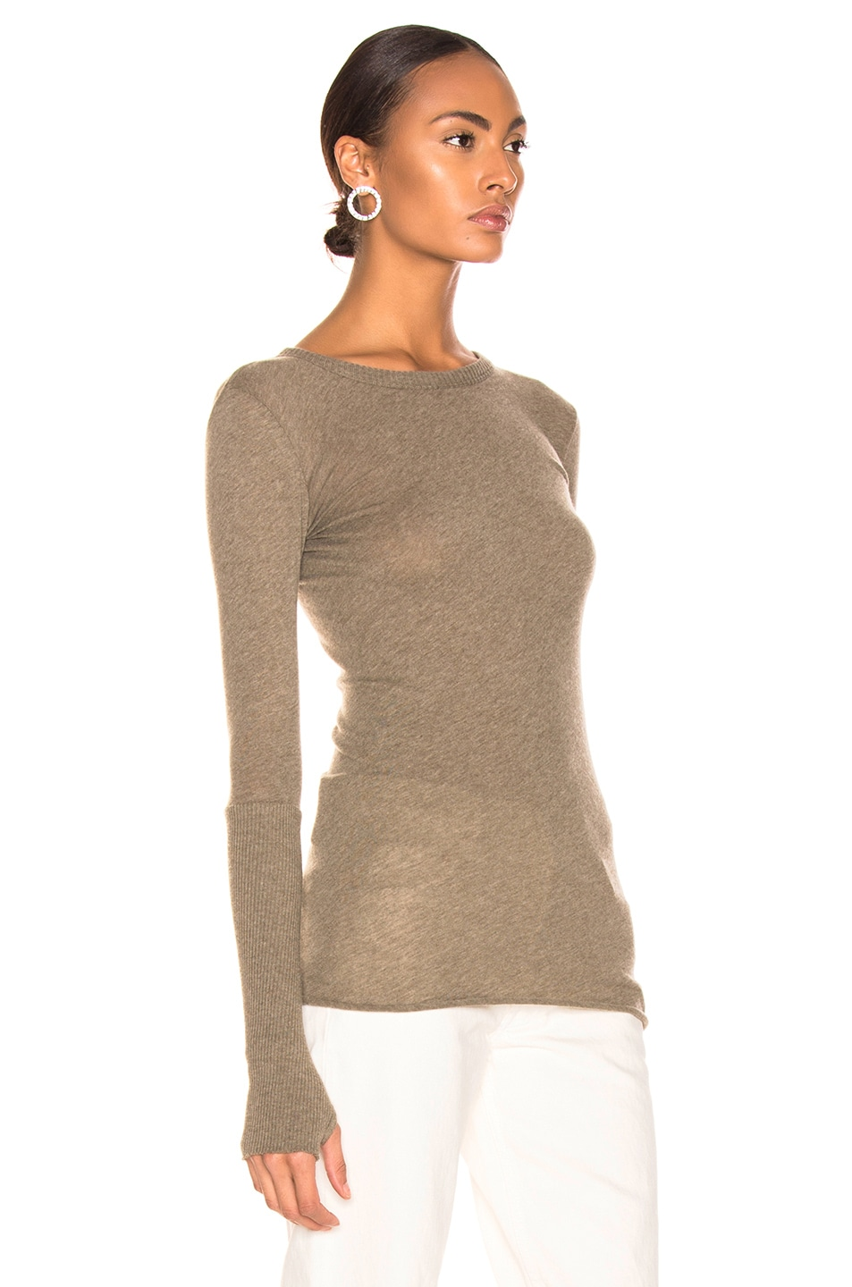 Image 2 of Enza Costa Cashmere Cuffed Crew in Pebble