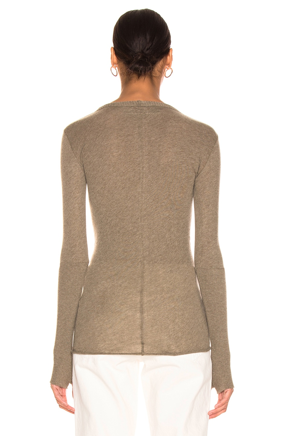 Image 3 of Enza Costa Cashmere Cuffed Crew in Pebble