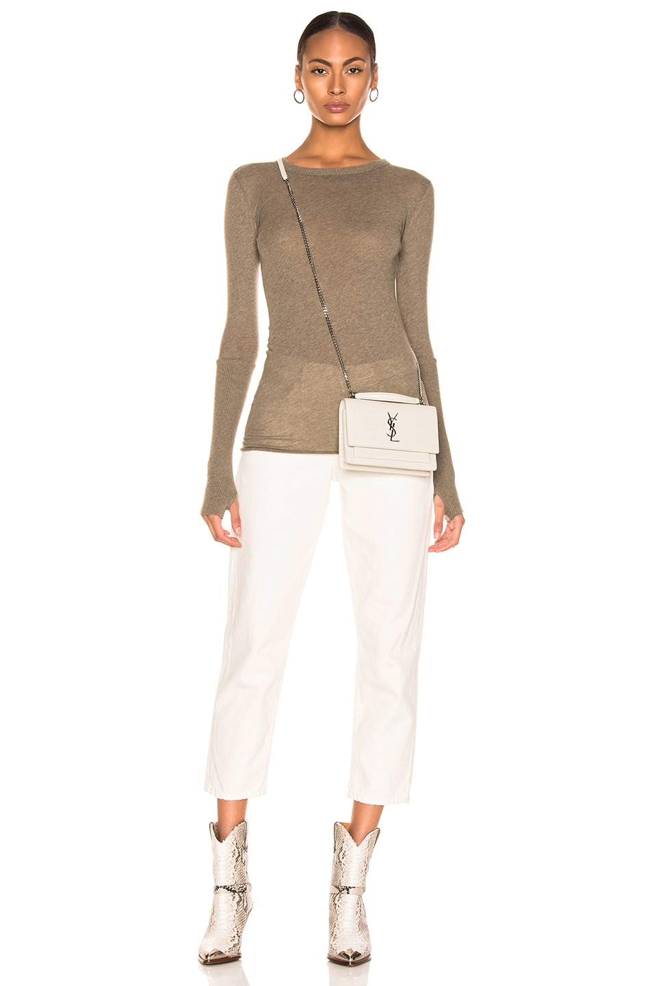 Image 4 of Enza Costa Cashmere Cuffed Crew in Pebble