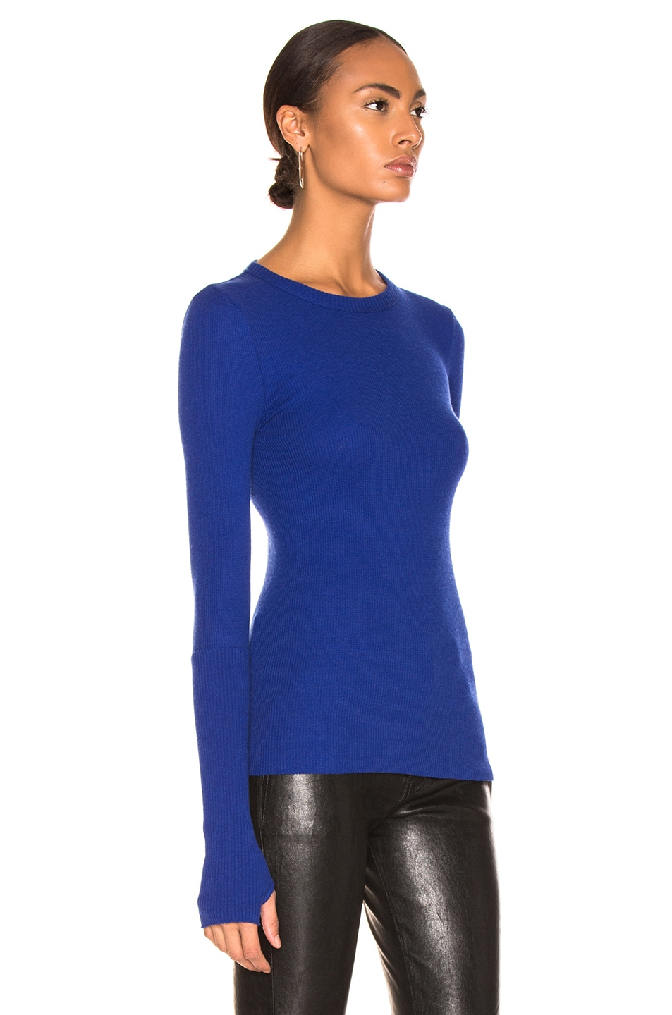 Image 2 of Enza Costa Cashmere Thermal Crew in Baltic