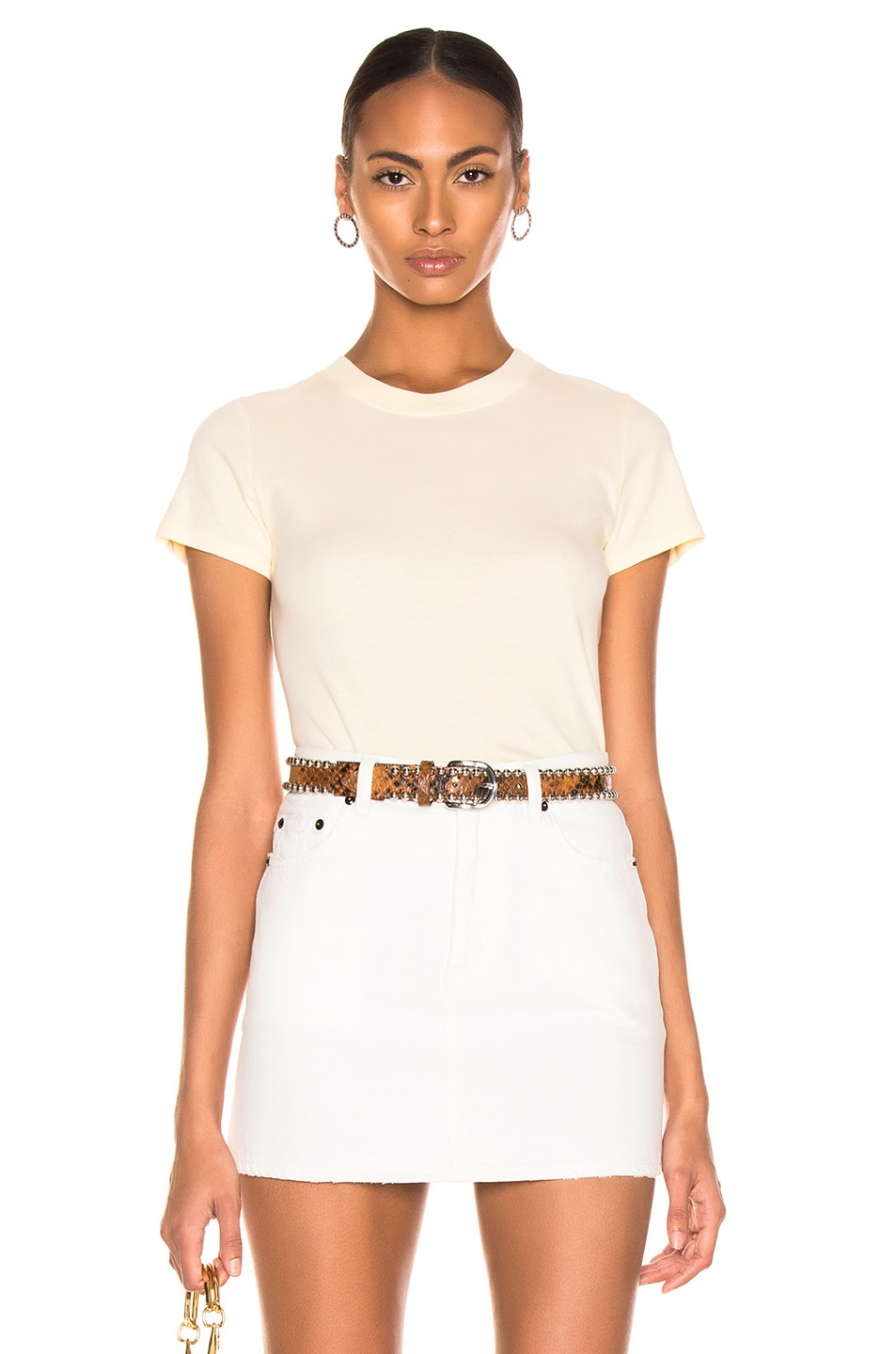Image 1 of Enza Costa Classic Short Sleeve Tee in Pale Yellow
