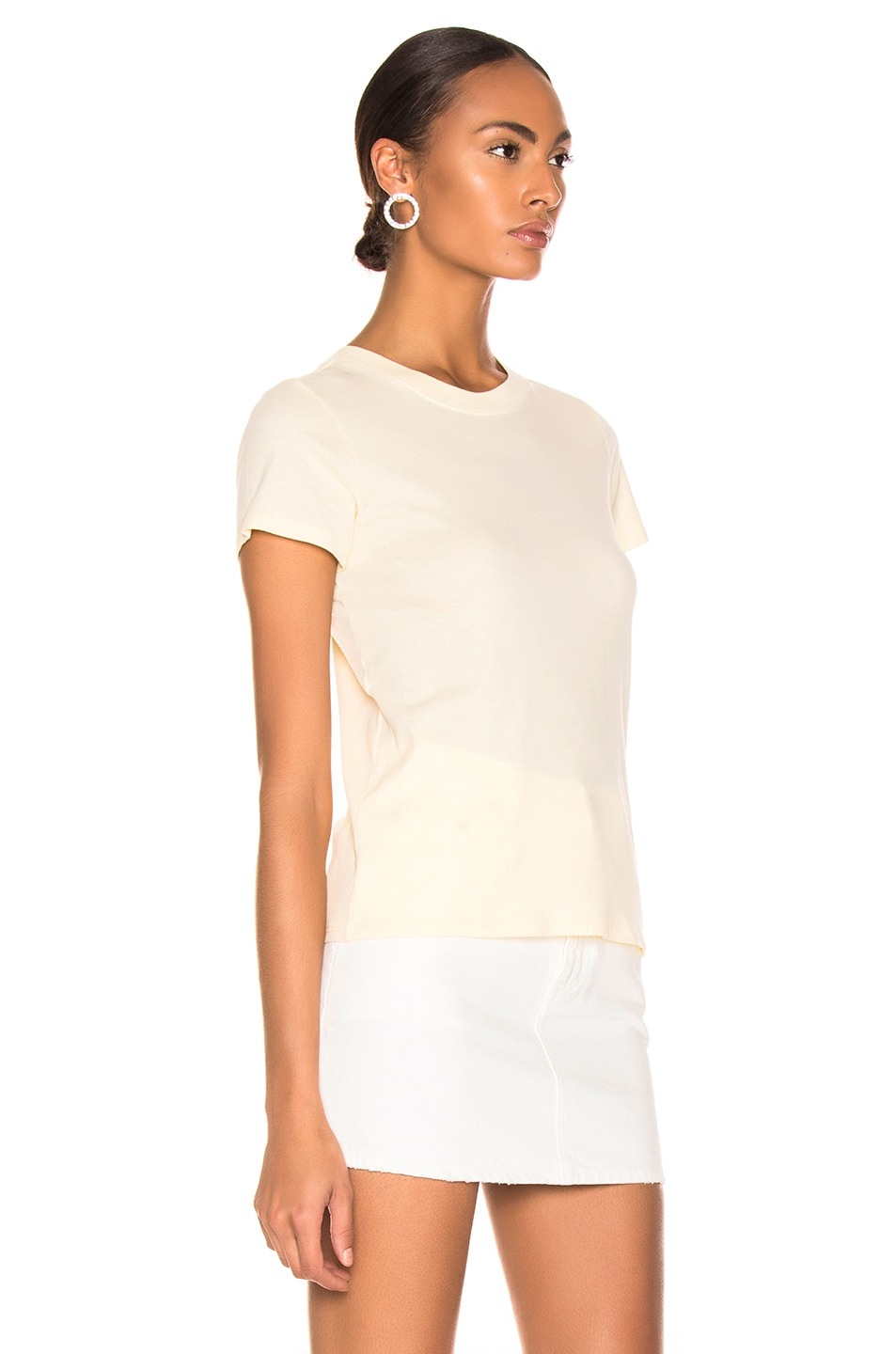 Image 2 of Enza Costa Classic Short Sleeve Tee in Pale Yellow