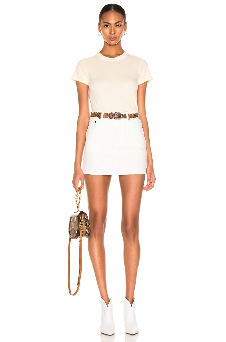 Image 4 of Enza Costa Classic Short Sleeve Tee in Pale Yellow