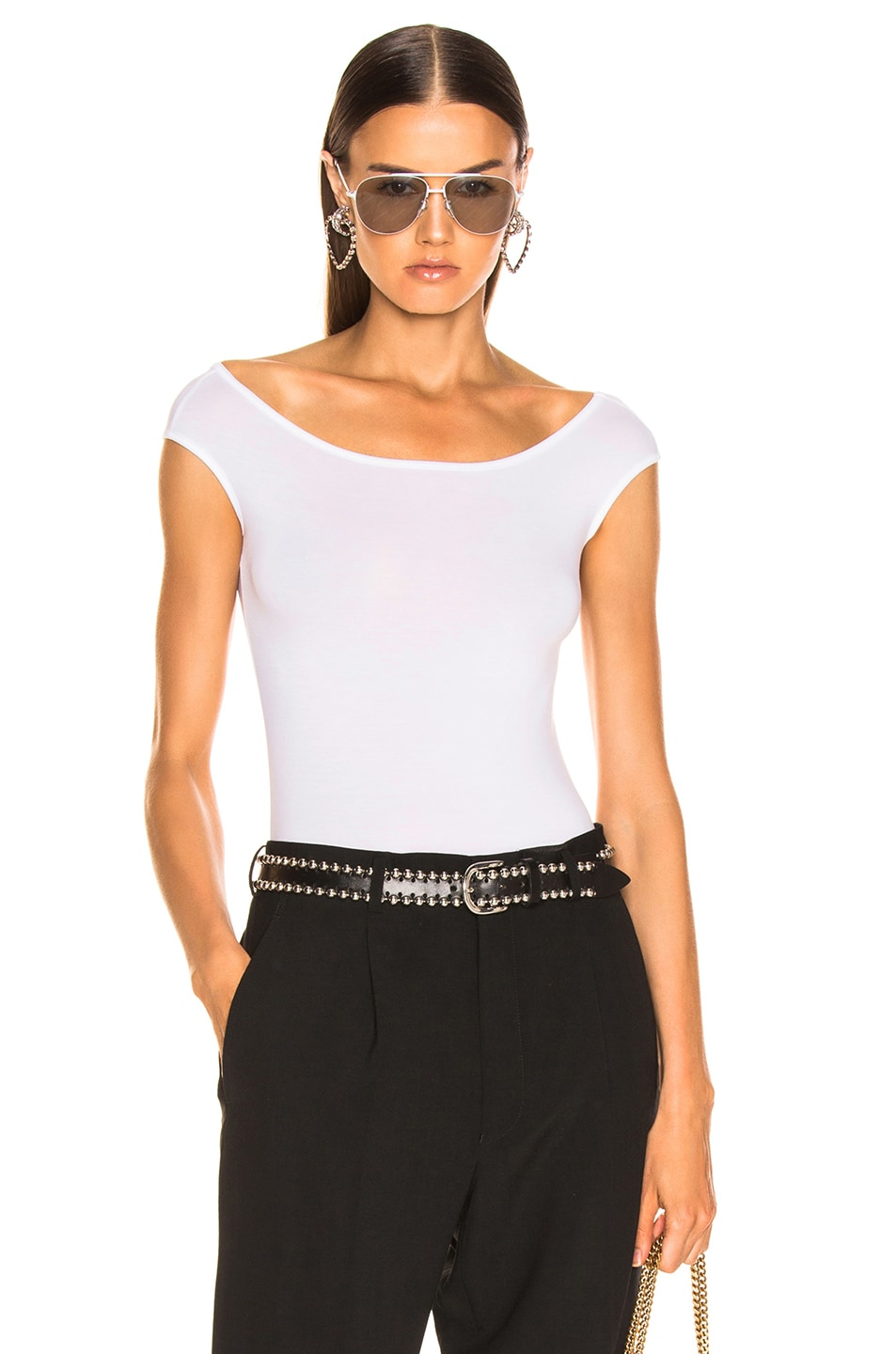Image 1 of Enza Costa Off The Shoulder Bodysuit in White