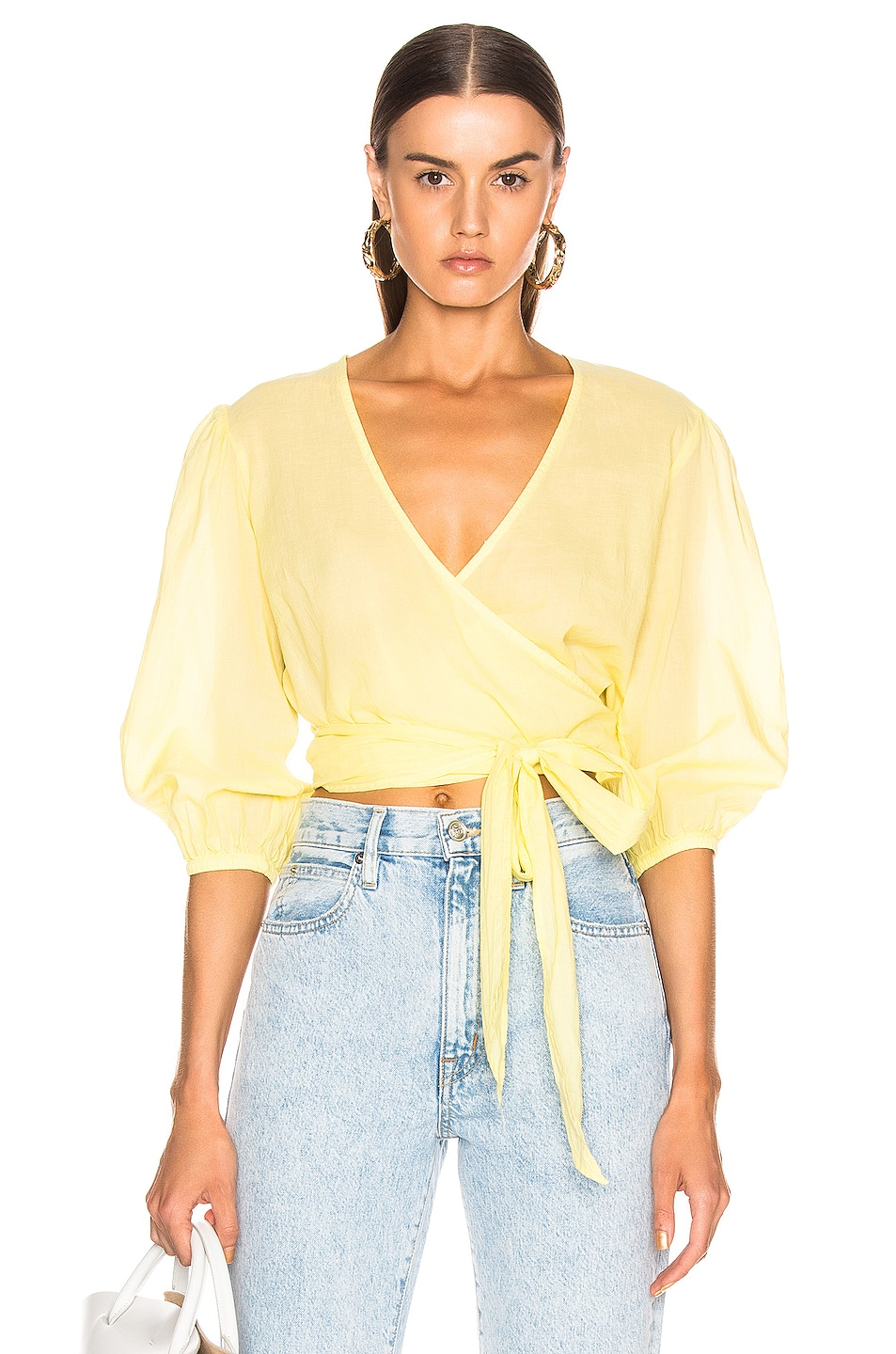 Image 1 of Enza Costa Puff Sleeve Wrap Top in Lemongrass