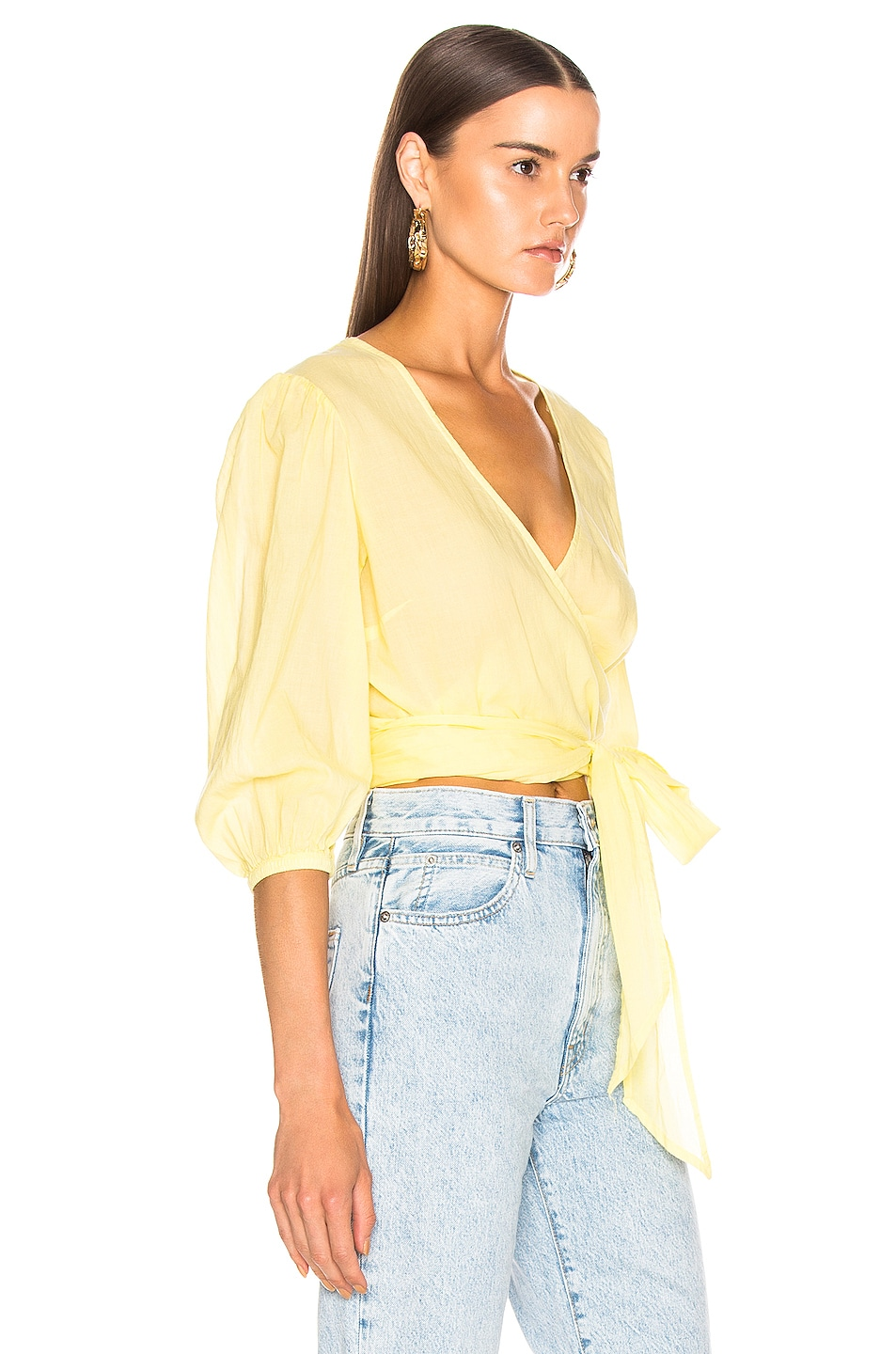 Image 2 of Enza Costa Puff Sleeve Wrap Top in Lemongrass