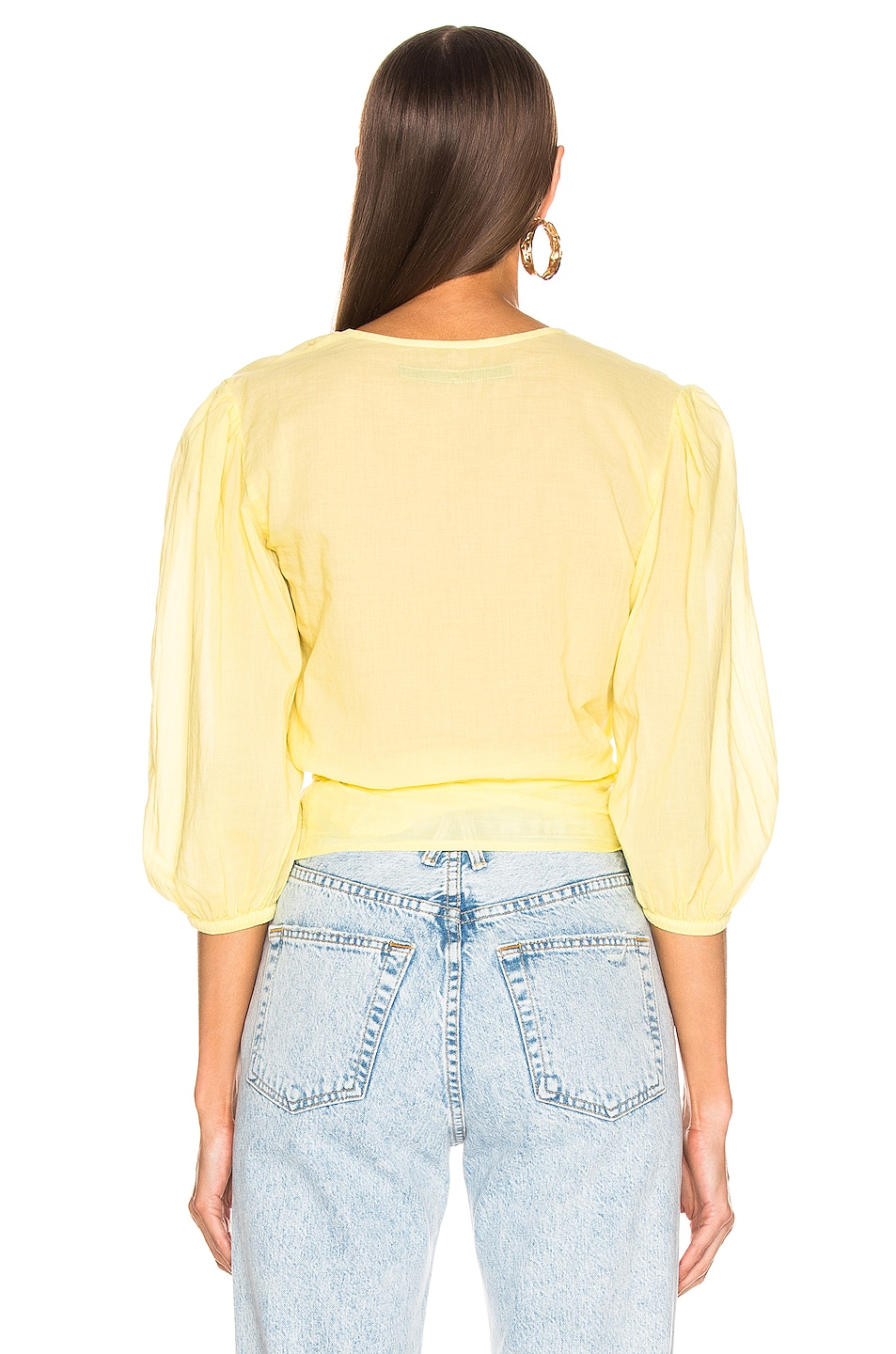 Image 3 of Enza Costa Puff Sleeve Wrap Top in Lemongrass
