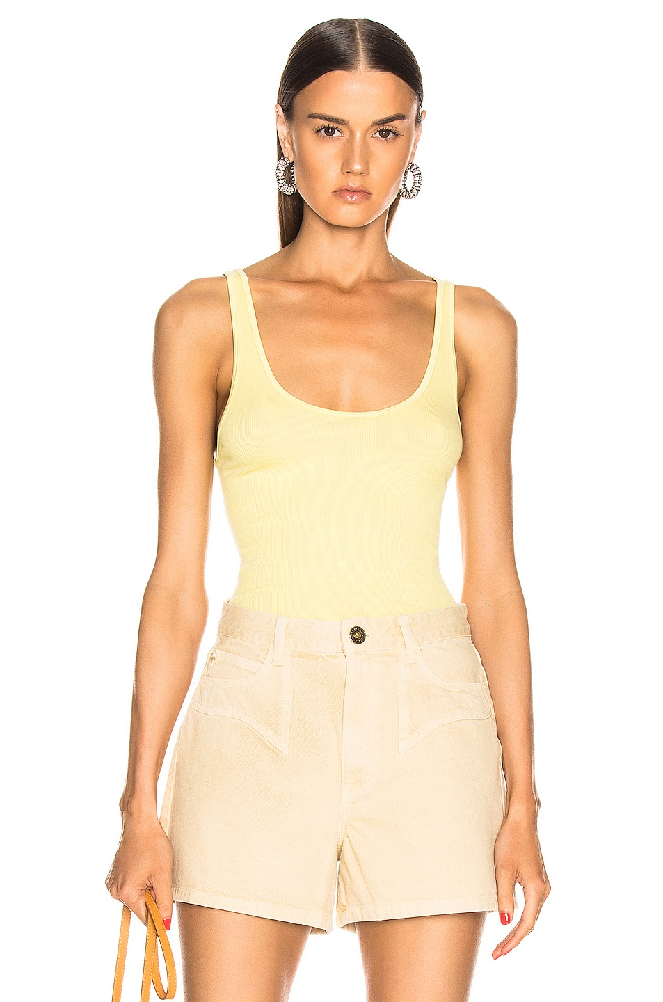 Image 1 of Enza Costa Rib Scoop Tank in Lemongrass